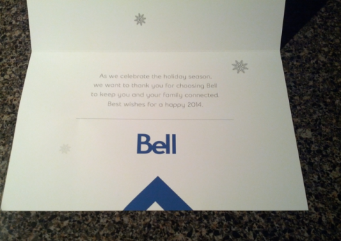 Christmas card from Bell